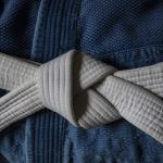 White Belt with Blue Gi - BJJ, Judo, Jiujitsu